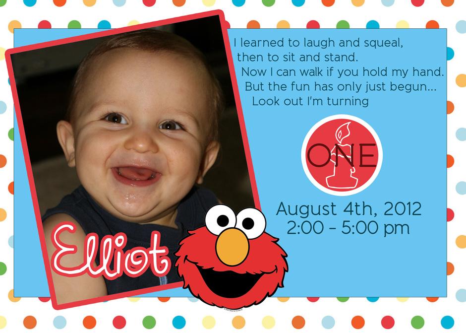 Elliot's Elmo Invitation to 1st Birthday